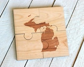 City And State Puzzle Coasters - Set of 4, Engraved Solid Wood Jig Saw