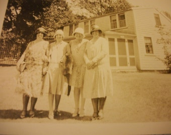 Circa Late 1920s - early 1930s Photo Reproduction of Women Gathered in Front of Their Summer Home