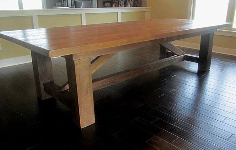 Hand Built Custom Farmhouse Harvest Tables to seat 10 to 14
