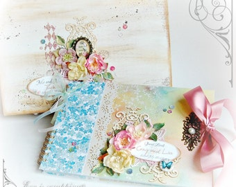 Custom Vintage Wedding Scrapbook, Guest Book, Album, Photo Album with wooden box keepsake suitkase  - Made to Order in Your Colors/Theme