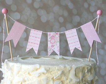 Pink Flower/Pink Polka Dot Baby Shower Cake Bunting Pennant Flag Cake Topper-MANY Colors to Choose From!  Birthday, Shower Cake Topper