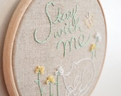 "Sleeping Cat Handmade Embroidery Hoop Wall Art - Textile Artwork in Mint Green & Yellow on Linen - 5"" hoop - MADE TO ORDER Gift for Home"