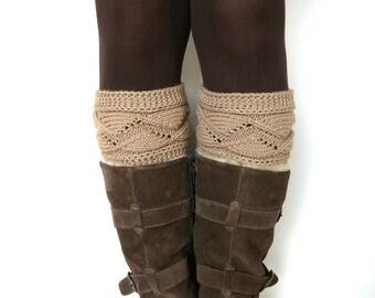Light caramel brown knit boot cuffs, leg warmers, boot toppers, boot socks