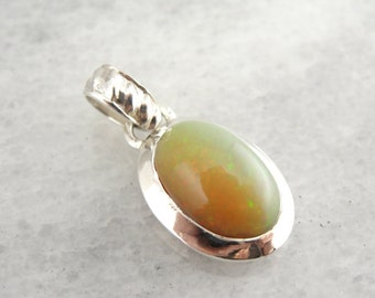 Orange and Green Glittering Ethiopian Opal Pendant in Sterling Silver ZJ6DQK- D