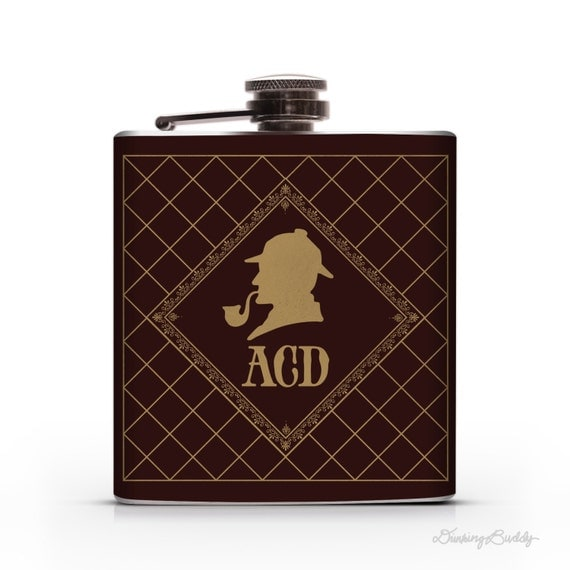 Sherlock Holmes Personalized Monogram - 6oz Hip Flask