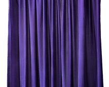Modern Ready Made Club Bar or Lounge DJ Stage Backdrop Decor Room Divider Wall Background Drapery Purple Velvet 96 inch Curtain Long Panel