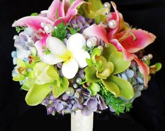 Wedding Green, Fuchsia and Lavener Plumeria Stargazer and Orchids Spring Mix Silk Flower Bride Bouquet