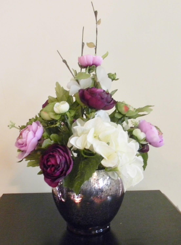 Floral centerpiece spring flower arrangement purple