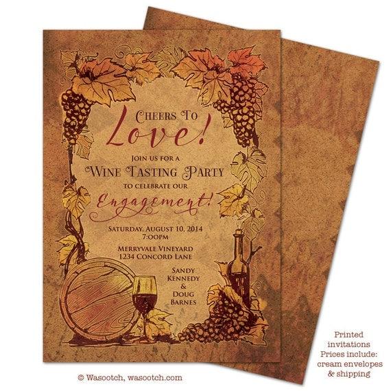 Cork Wedding Invitations: Wine Tasting Cork Vineyard Engagement Party Invitations