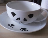 Personalised hand painted panda cup and saucer