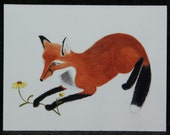 Playful Fox Watercolor Painting Notecard
