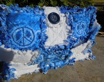 Peace and Stars Wooden Bottom Rag Quilt Purse!!! ((Ready Made-Ready To Ship))