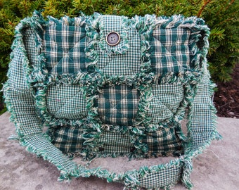 Primitive Hunter Green  Wooden Bottom Rag Quilt Purse((Large-Ready Made-Ready To Ship))