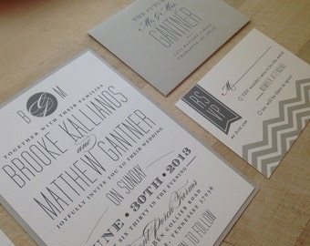 Wedding Invitation Suite // Chevron and Modern // Simple and Elegant Invite // Purchase this Deposit to Get Started