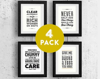 Cyber Monday Ron Swanson, Typography Print, Black and White, Wall Decor, Parks and Recreation, Bacon, Eggs, Half Ass - Ron Swanson Pack
