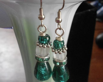 Seafoam murano glass earrings