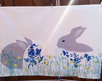 Bunny Tea towel, bunny lover gift, rabbit tea towel, rabbit lovers gift, stocking filler, bunny towel, tea towel, woodland towel