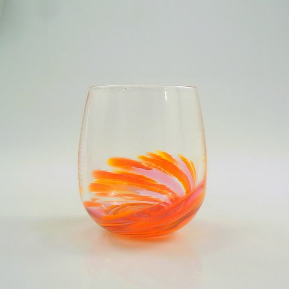 Hand blown stemless wine glass in creative coral by glassometry - Hand blown stemless wine glasses ...