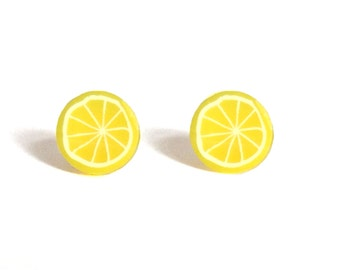 Lemon Earrings, Lemon Studs, Cute Kawaii Lemon Studs, Lemon accessories, Fruit Studs, Lemons, Lemon Slice Earrings, Spring Accessories