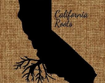 Burlap frame-able art - California Roots