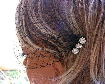 Black Birdcage Veil, white/Ivory blusher veil,  Blusher Veil, Bandeau net veil, French Russian Veil, Bridal veil, Bridesmaid veil, Voilette