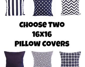 Navy Pillow Cover Geometric Greek Key Polka Dot Chervron Stripe Solid Decorative Throw Accent 16x16 Indigo White Nautical Zipper