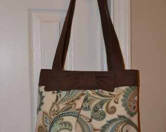 Brown and Teal Shoulder Purse with Pleat and Bow