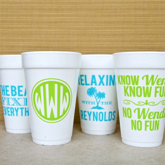 personalized styrofoam party cups monogrammed foam cups