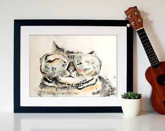 Watercolor Print  - Calorie Smart . Art print of a cat with glasses.