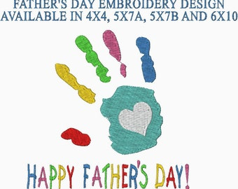 Happy Father's Day Embroidery Design Hand Print embroidery