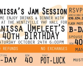 Custom Created for You - Concert or Event Ticket Stub Style Birthday Invitation - PDF Files to Print