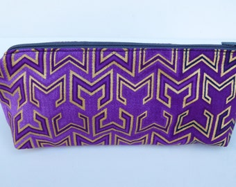 Beautiful African Fabric Make-up bag clutch purse in geo purple and gold