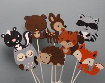 Woodland Animals Centerpiece Picks-Set of 8