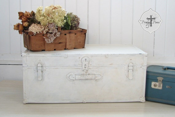 Shabby Chic Vintage White Steamer Trunk Chest Perfect