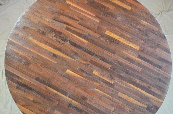 butcher block round industrial rustic table in walnut. Black Bedroom Furniture Sets. Home Design Ideas