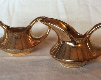 Gold on Gold Lustreware Creamer, Sugar Bowl from Pearl China Company, hand painted with 22 KT Gold.