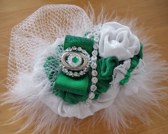 Marshall University Green & White Rosette Clip Hair bow