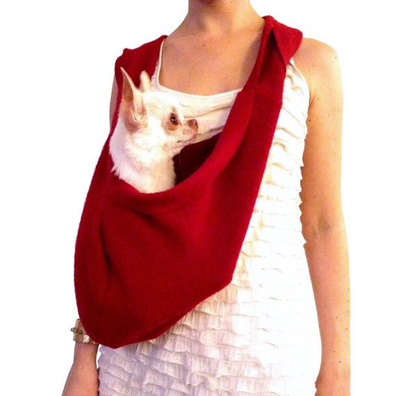 Pet travel bag red scarf sling carrier small dog tote by - Pattern for dog carrier sling ...