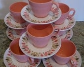 Boonton Ware Pink & Pink Leaf Retro Somerset, 8 Cups, 8 Saucers, Melamine, Melmac