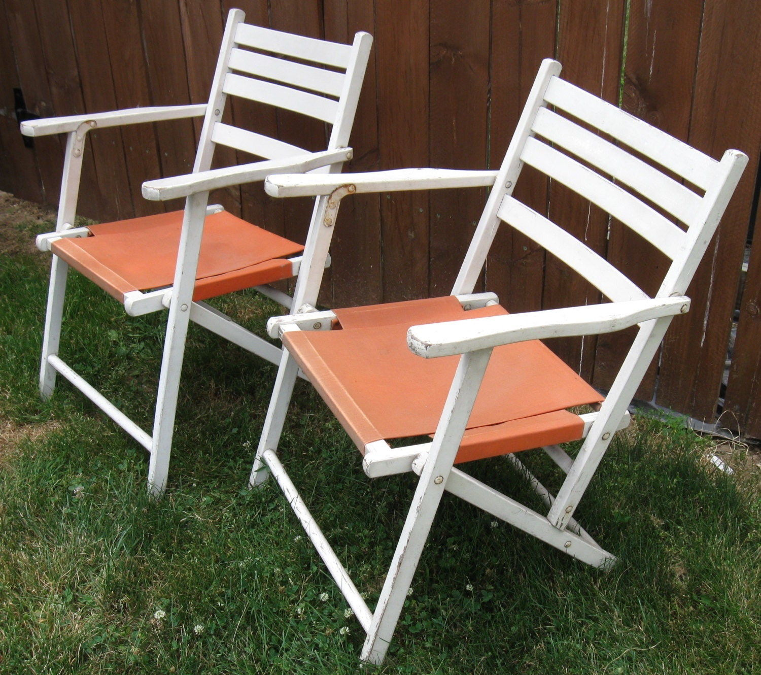 Pair of Vintage White Wooden folding Deck Chairs by AcornAndAlice
