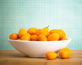 Fruit kitchen décor, Canvas kitchen art, Orange citrus print, Fruit photography // Kumquat Still Life