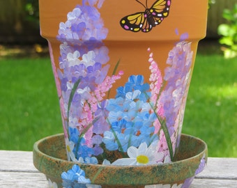 Handpainted Terra Cotta Planter, Saucer - Mixed floral with Butterfly, container, flower pot