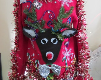 custom 3 d reindeer tacky ugly christmas sweater with wild garland light up bow - Light Up Christmas Tie