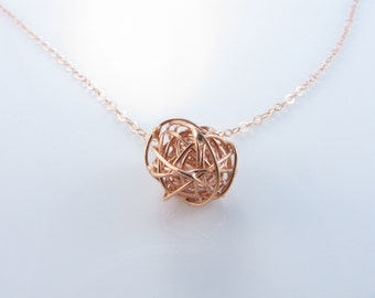 Rose Gold Necklace, Love Ball Necklace, Tie The Knot Necklace, Bridesmaids Gift