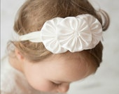 Ivory yoyo headband baby christening headband toddler flower girl hair band white or ivory stretchy headband for little girls