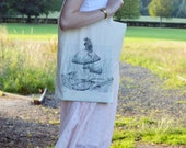 Eco friendly natural cotton shopper bag with dormouse design illustrated by myself