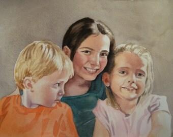 Custom watercolor portrait, three person, color