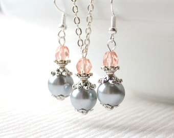 Grey and pink jewelry set of necklace and earrings Bridesmaid gifts set Grey pink bridesmaid jewelry set Flower girl jewelry pink weddings