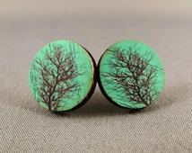 Stud Earrings - Green Tree Round Wooden