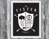 "11"" X 14"" Custom Family Crest Art Order - Choose your own colors and quote! Personalized Family Poster- Kids Names- Anniversary Date"